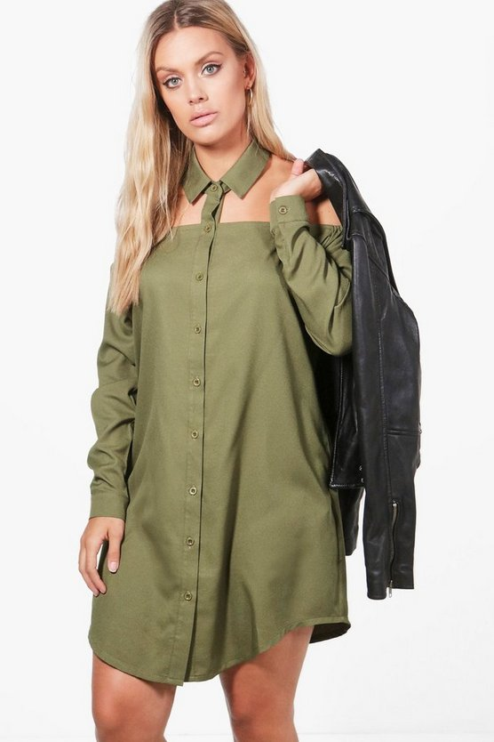 Plus Cut Out Collar Shirt Dress