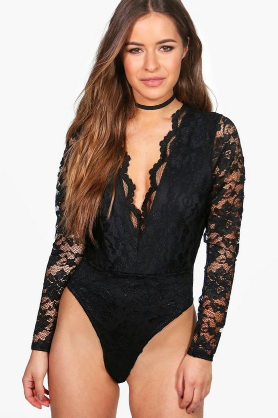 Womens Black Petite  Lace Plunge Bodysuit