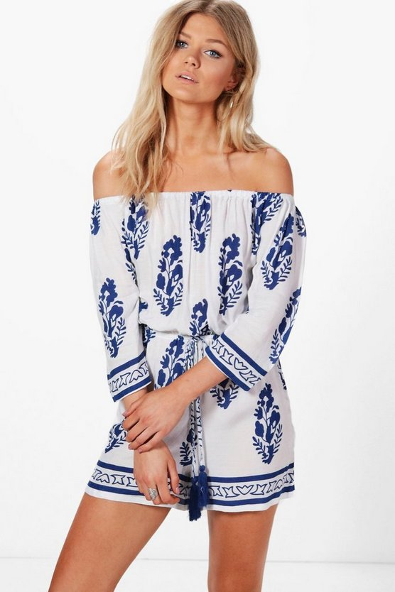 Petite Claire Off The Shoulder Feather Print Playsuit