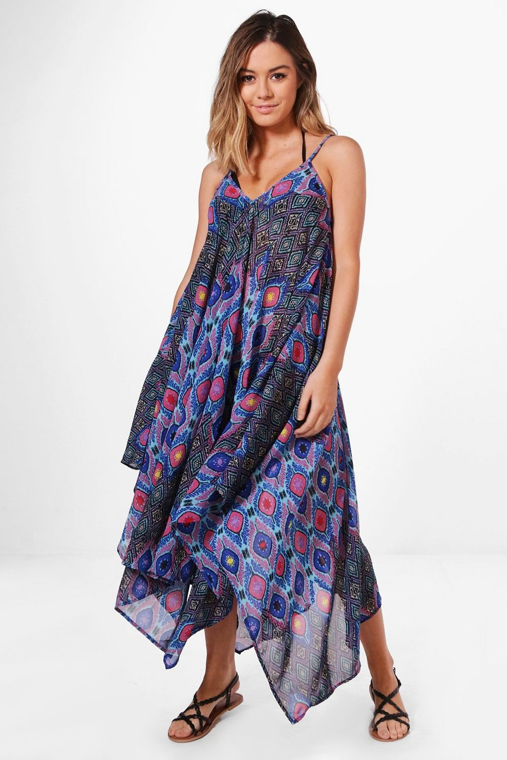 3656cc73be Petite Nadia Bright Printed Beach Maxi Dress | Boohoo