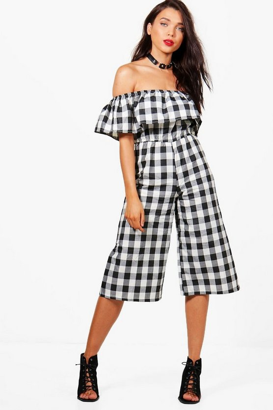 Petite Off The Shoulder Culotte Jumpsuit
