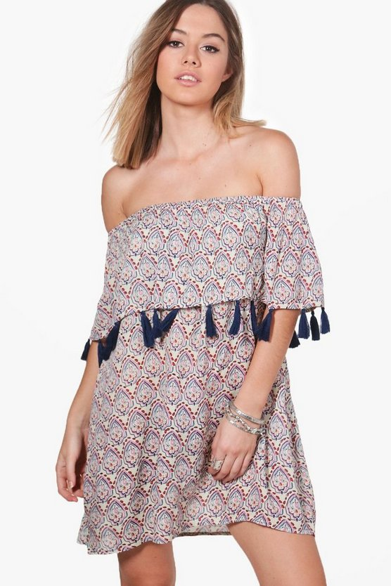 Petite Marie Bright Tassel Off The Shoulder Dress