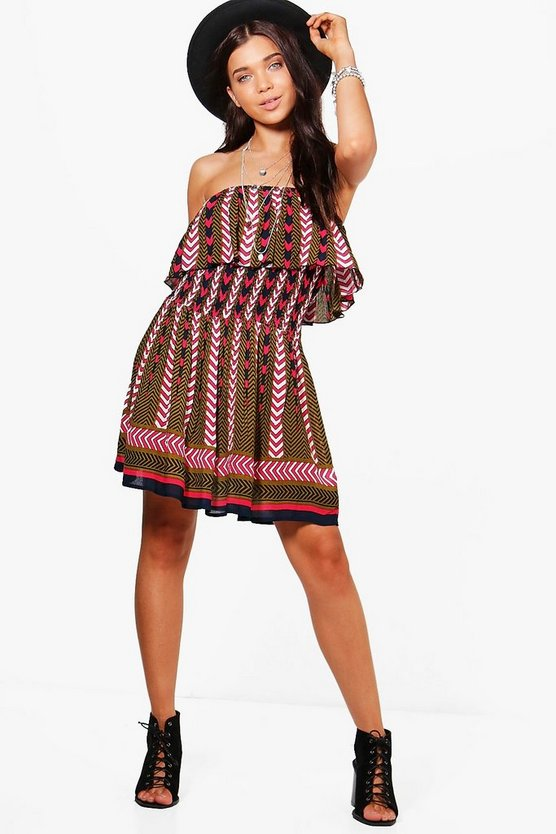 Petite Rachel Off The Shoulder Printed Dress