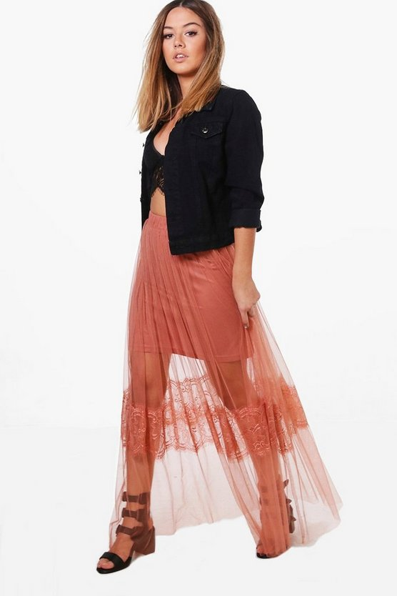 Petite Annie Eyelash Lace Tulle Maxi Skirt