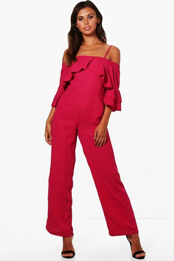 Petite Cold Shoulder Woven Jumpsuit