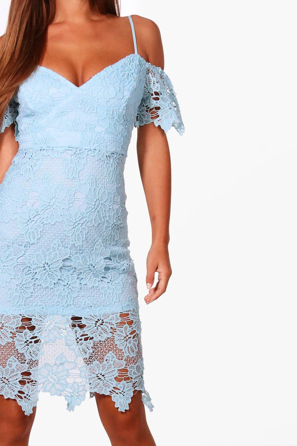 NEW-Boohoo-Womens-Petite-Lucie-Corded-Lace-Cold-Shoulder-Midi-Dress