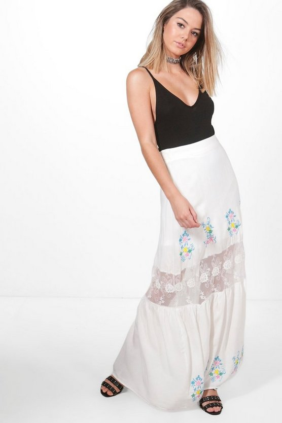 Petite Embroidered Lace Insert Tiered Maxi Skirt