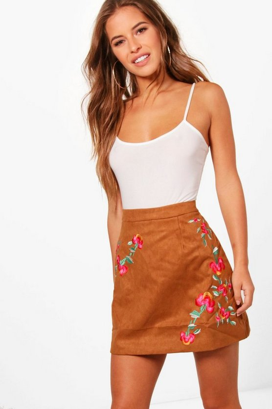 Petite Bella Embroidered Suedette Skirt