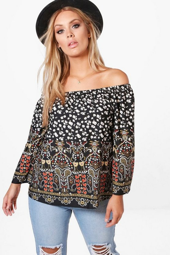 Plus Poppy Off Shoulder Border Print Top
