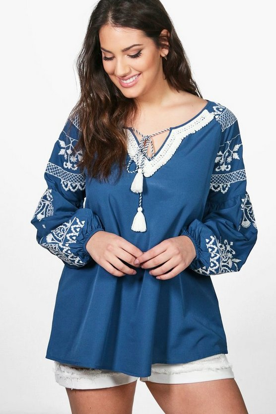Plus Alyssa Embroidered Detail Smock Top