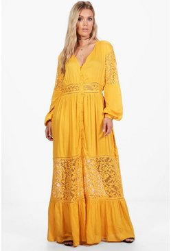 Plus Boho Lace Insert Maxi Dress, Ochre, MUJER