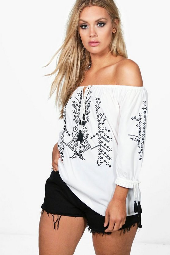 Plus Rose Off The Shoulder Embroidered Top