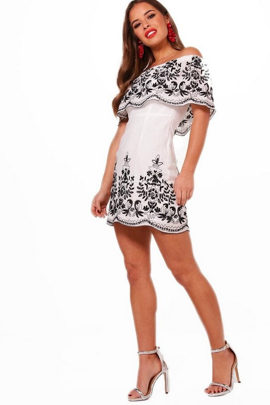 Petite Embroidered Hem Bodycon Dress