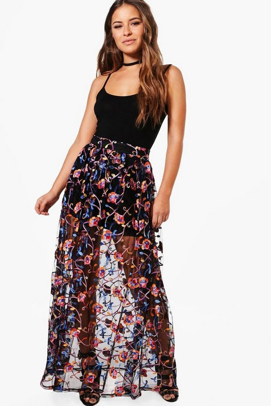 Petite Embroidered Full Maxi Skirt