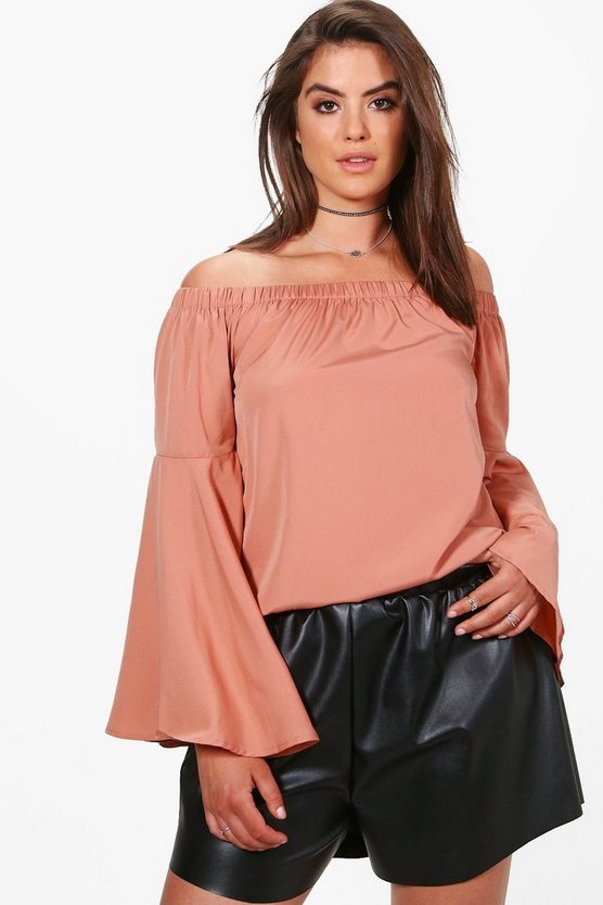 Plus Mollie Woven Extreme Flute Sleeve Top
