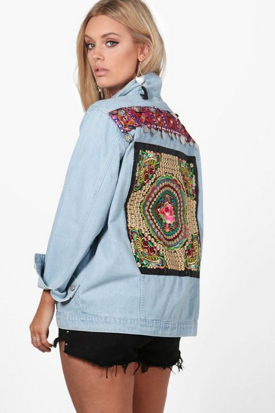Womens Blue Plus Violet Embroidered Coin Trim Denim Jacket