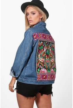 Womens Blue Plus Sally Embroidered Denim Jacket