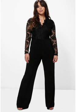 Womens Black Plus  Long Sleeve Lace Top Slinky Jumpsuit