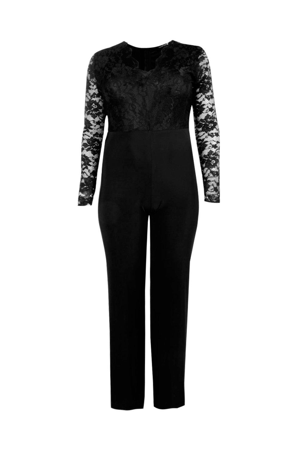 Top Lace Slinky Long Plus Sleeve black Jumpsuit BSqwzvF