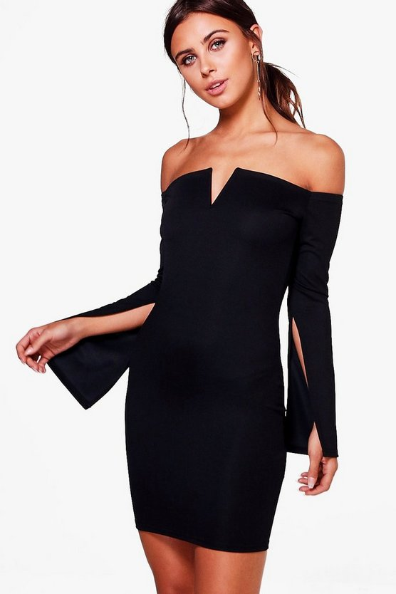 Petite Esme Off The Shoulder Split Sleeve Dress