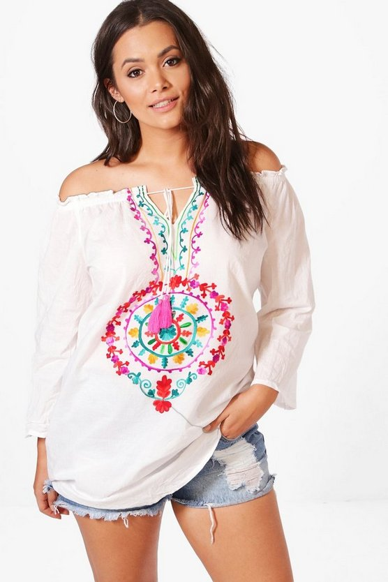 Plus Anna Bright Embroidered Smock Top