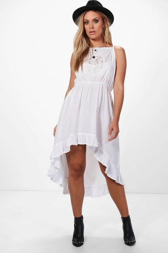 Womens White Plus Lara Crochet Lace Boho Midi Dress