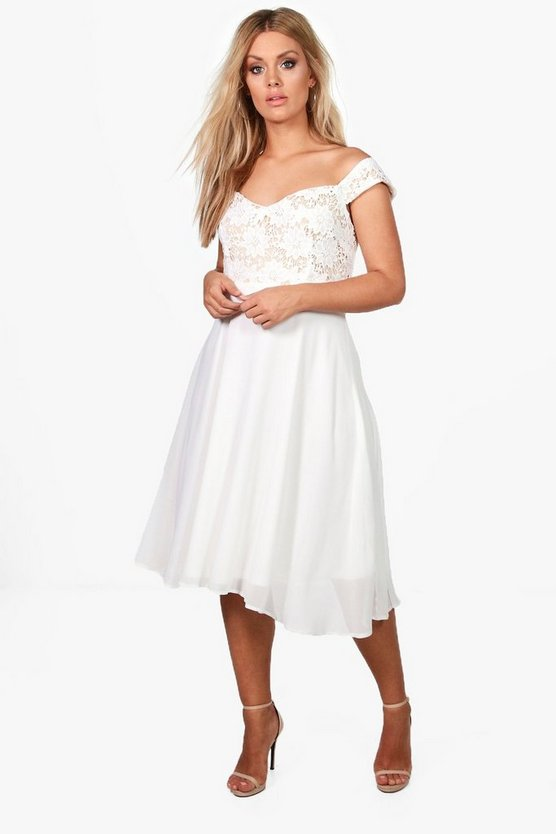 Plus Bianca Lace Chiffon Off The Shoulder Midi Dress