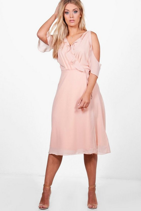 Plus Chiffon Frill Cold Shoulder Midi Dress
