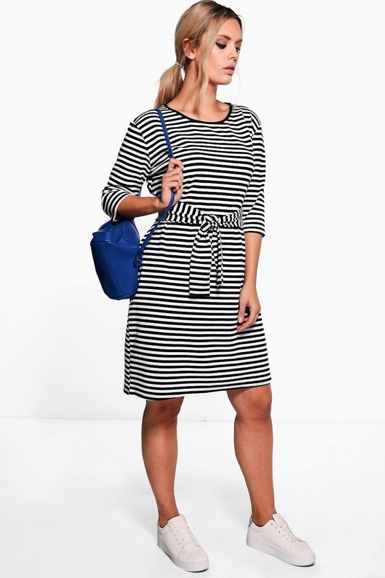 Plus Eloise 3/4 Sleeve Tie Waist Midi Dress