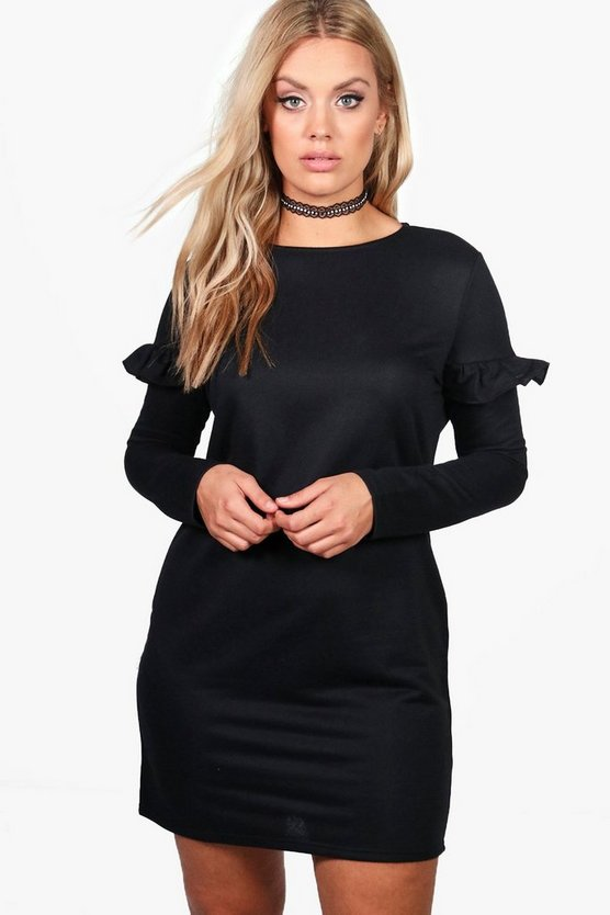 Plus Alicia Frill Sleeve Sweat Dress