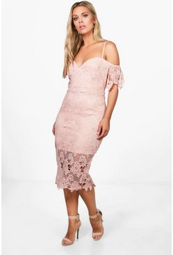 Plus Corded Lace Midi Dress, Blush, Donna