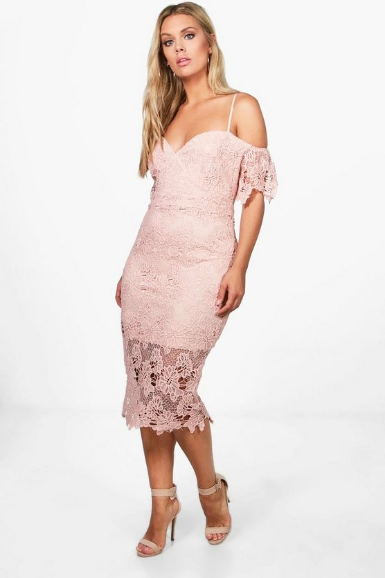 Womens Blush Plus Corded Lace Midi Dress