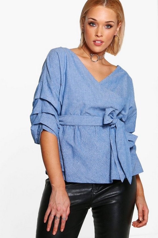 Plus Bluse in Chambray-Optik mit Wickelfront