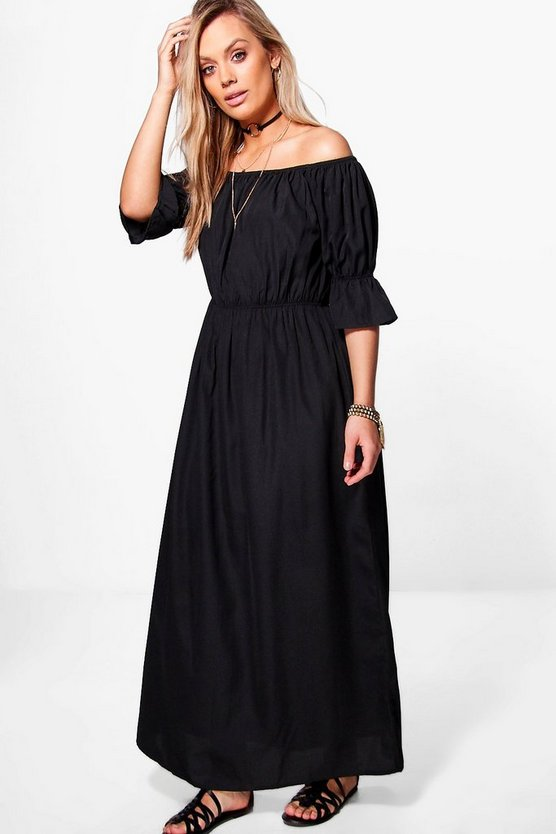 Plus Off The Shoulder Woven Maxi Dress