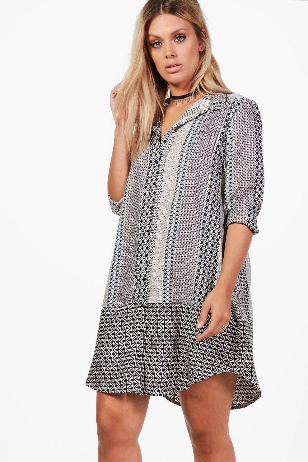 508549813d Plus Tina Geo Print Shirt Dress | Boohoo
