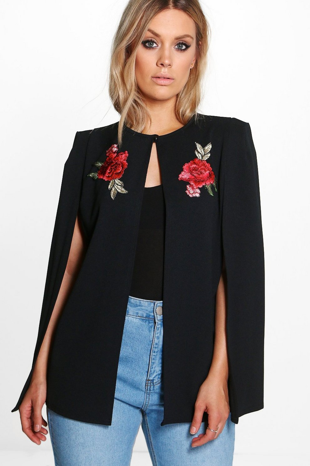 c1dad52a2faaa Womens Black Plus Embroidered Cape Jacket