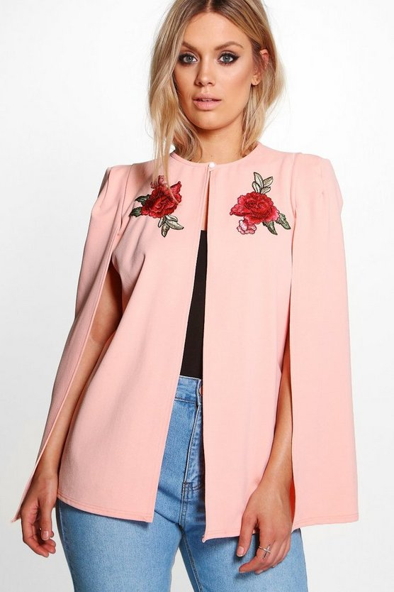Plus Embroidered Cape Jacket