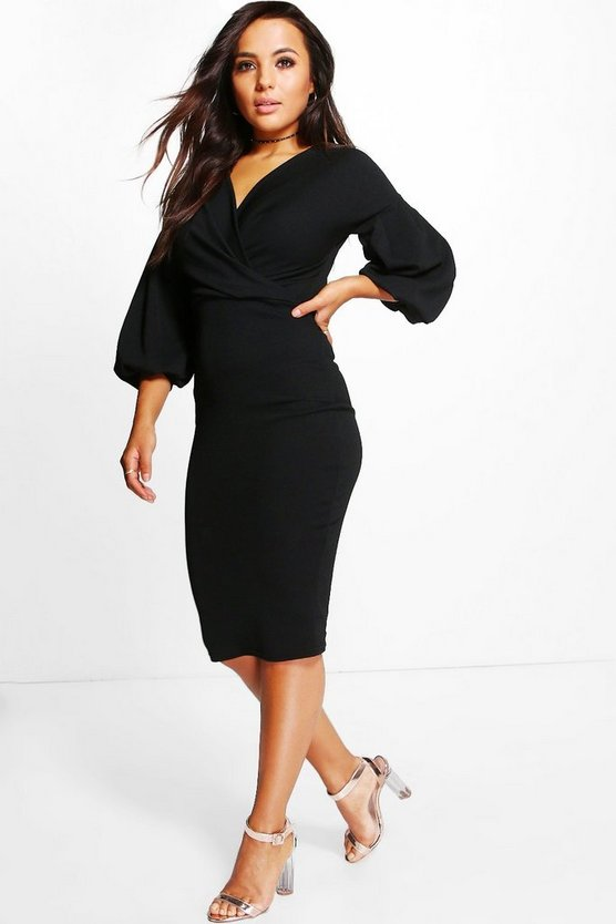 Petite Natalie Puff Ball Sleeve Wrap Midi Dress
