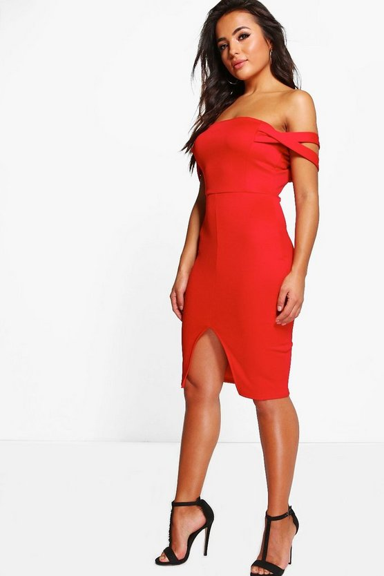 Petite Off The Shoulder Detail Midi Dress