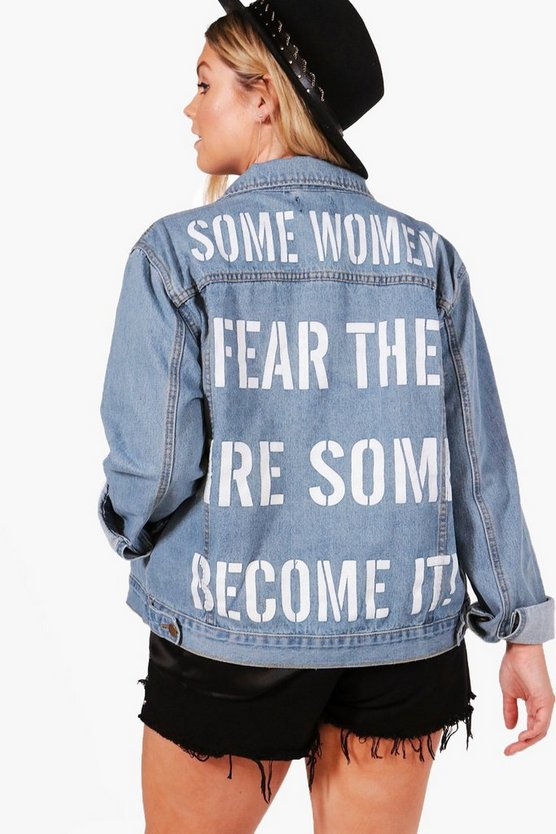 Plus Rachel Slogan Back Oversize Denim Jacket