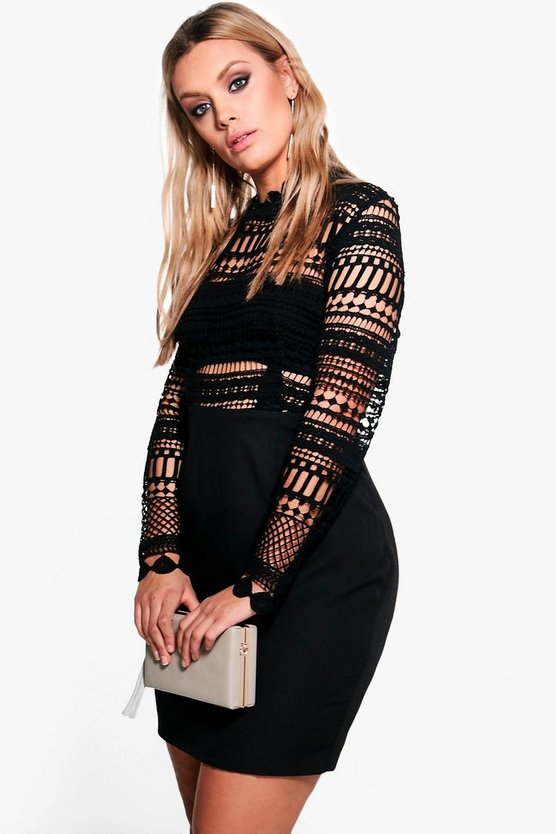 Plus Nina Crochet Lace Bodycon Dress