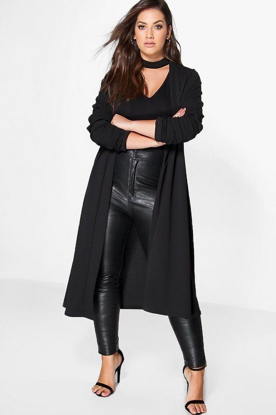 Womens Black Plus Waterfall Duster Coat