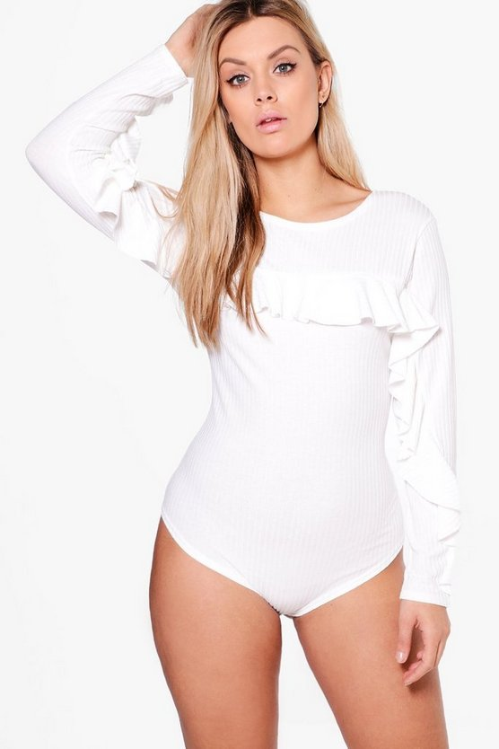 Plus Summer Ribbed Frill Bodysuit
