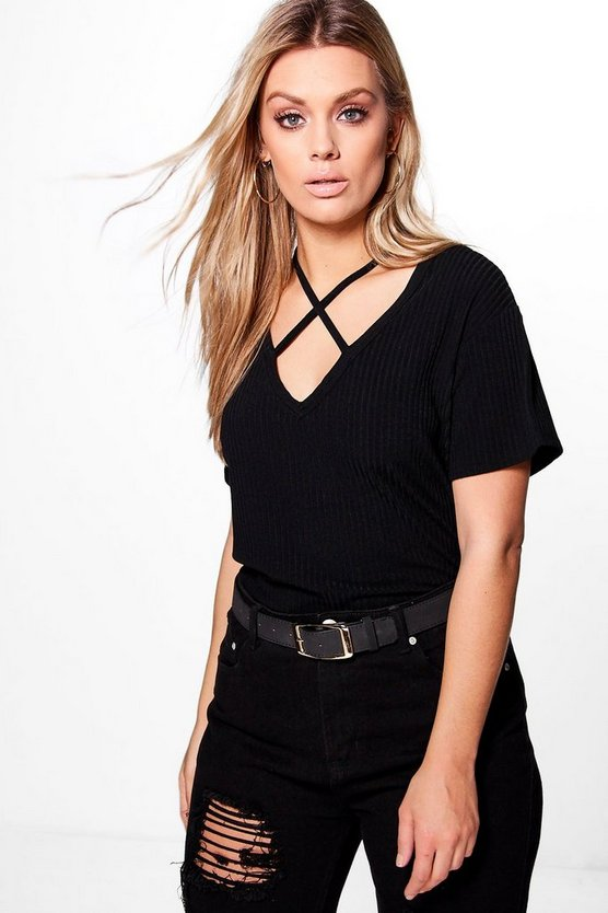 Womens Black Plus  Cross Neck Ribbed Top
