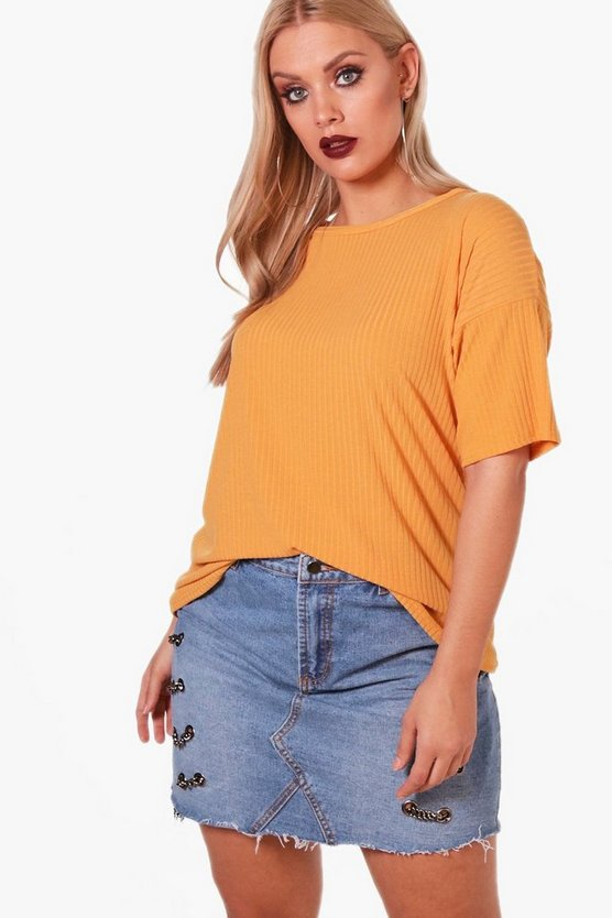 Plus Ribbed Oversize Knitted T-Shirt