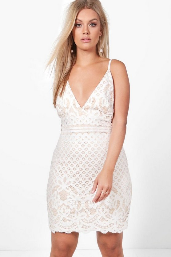 Plus Jemima Lace Plunge Bodycon Dress