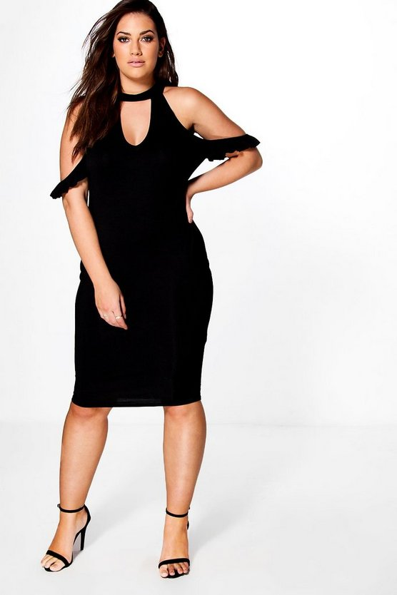 Plus Nicole Frill Open Shoulder Midi Dress