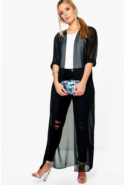 Womens Black Plus  Chiffon Maxi Duster