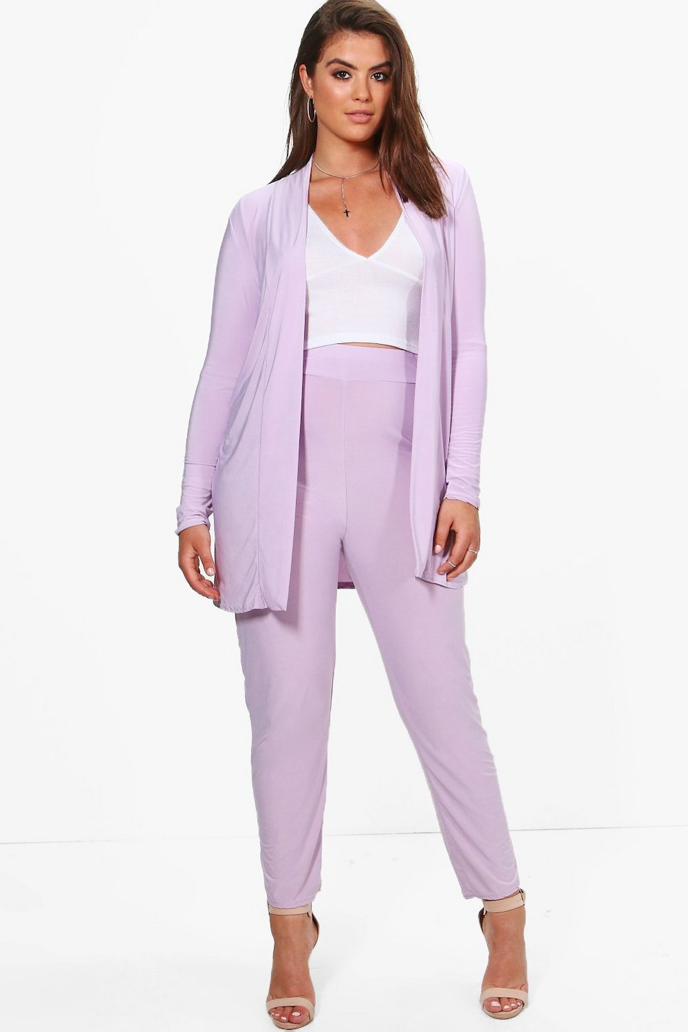 fa7e3313d05a Plus Lilly Slinky Duster + Tapered Trouser Co-ord | Boohoo
