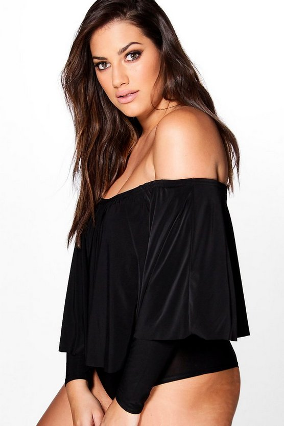 Plus Elena Longer Frill Off The Shoulder Bodysuit
